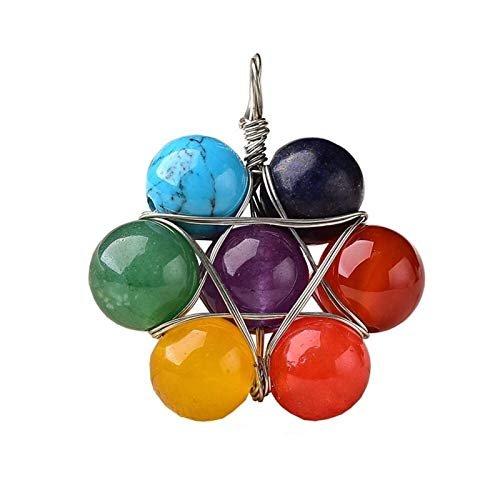 XXYHYQHJD 1PC Natural Crystal Pendant Amethyst Stone Fashion Seven Chakras Jewelry Colorful Necklace Souvenir