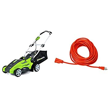 Greenworks 10 Amp 16 inch Corded Electric Lawn Mower 25142 & Amazon Basics 16/3 Vinyl Outdoor Extension Cord - Orange 50 Foot
