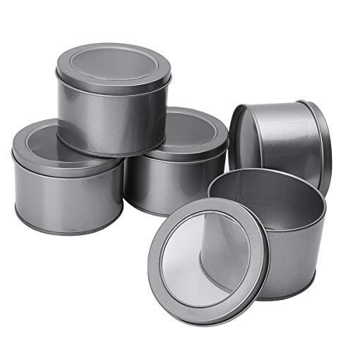 iEFiEL Tarros de Hojalata para Hacer Velas Tarros de Lata Redonda Recipiente de Latas de Metal Vacío Latas de Aluminio con Tapa para Té Caramelo café Azúcar Joyería Gris One Size