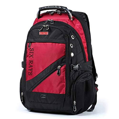 REBKW Men's Travel Bag Man Swiss Backpack Polyester Bags Waterproof Anti Theft Backpack Laptop Backpacks Men Brand bags(Red)