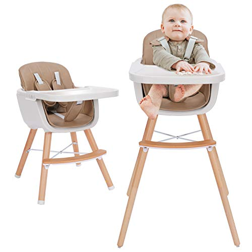 3-in-1 Baby High Chair with Adjustable Legs, Tray -Brown Color Dishwasher Safe, Wooden High Chair Made of Sleek Hardwood & Premium Leatherette, Ideal for Small Apartment