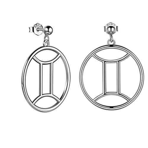 Zwillinge 12 Konstellation Sternzeichen Ohrringe 925 Sterling Silber Horoskop Creolen für Frauen und Mädchen FE0071G