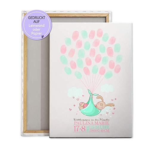 Gästebuch für Taufe, Baby-shower, Baby-party, Geschenk-idee, Leinwand für Fingerabdrücke, Hase