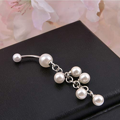 Color Yun Long Style Imitation Pearl Medical Women Belly Button Ring Beautiful Navel Piercing Body Fashion Jewelry Best Gift