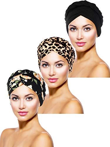 3 Pieces Women Turban Head Wrap Pre-Tied Bonnet Beanie Hat Sleeping Cap Headwrap (Retro Pattern)