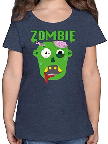 Halloween Kind - Zombie - 116 (5/6 Jahre) - Dunkelblau Meliert - Fun - F131K - Mädchen Kinder T-Shirt