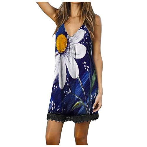 SolaXii Vestido de verano para mujer, con cuello en V, sin mangas, largo hasta la rodilla, con hombros descubiertos, estilo informal negro B L
