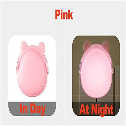 Veilleuse Télécommande Intelligente LED Night Light Ac110-220V Cartoon Bear Baby Night Lamp Light Sensor Wall Lamp for Kitchen Stairs Toilet Home Pink