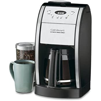Cuisinart Grind & Brew 12-Cup Automatic Coffeemaker Features Built In Grinder 12 Cup Carafe with Ergonomic Handle Dripless Spout and Knuckle Guard with Pause N Brew Option 24 Hour Fully Programmable and Gold Tone/Charcoal Filter Included