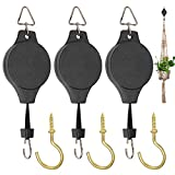3 Pack Plant Pulley Hanger, Retractable Plant Hook Pulley, Adjustable Heavy Duty Plant Hanging Pulleys for Garden Baskets & Bird Feeder with 3 PCS Gold Metal Ceiling Plant Hooks