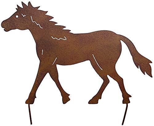 Metall Stecker Pferd Rost Stecken Beetstecker Tierfigur Rasenstecker Gartenstecker Blumenstecker Blumenbeet Frühlingsdeko Gras Garten Deko Pony Stute Gartendekoration Frühling Sommer braun