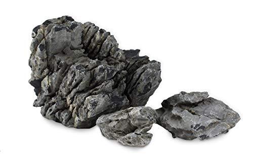 Grauer Bergfelsen-Stein für Aquarium, 10 kg, Iwagumi-Stil, Set bestehend aus Steinen für das Gestalten von Aquarienlandschaften