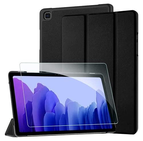 YHX-OU Funda para Samsung Galaxy Tab A7 10.4 2020 Book Cover Tab A 8.0 2019 Flip Cover + 1 pieza de cristal templado (negro)