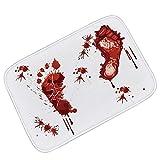 Asunflower Halloween Bloody Footprints Bath Mat Flannel Doormat Thrilling Shower Mat Non-Slip Carpet