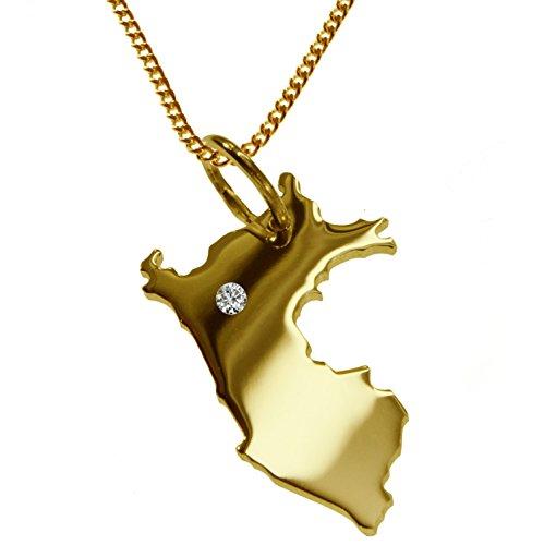 Collar de 50 cm + colgante de Perú con un brillante de 0,015 quilates en el lugar deseado en oro amarillo macizo 585.