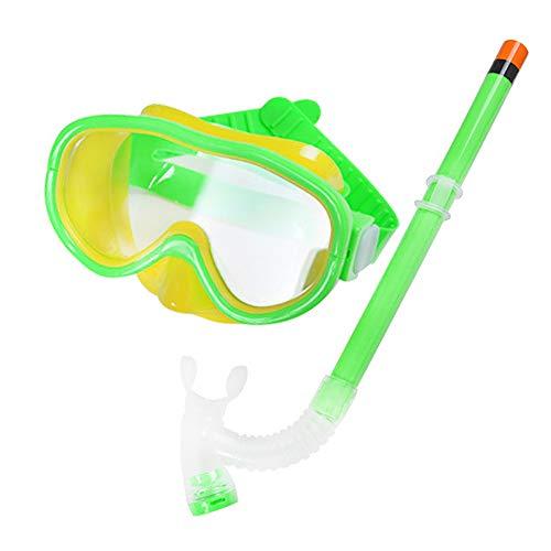 TOMYEER Juego de gafas de natación semisecas para niños y niñas, equipo de esnórquel, color verde