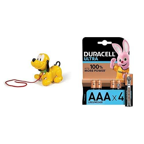 Baby Clementoni- Baby Pluto Mickey Mouse Juguete para Niños + Duracell Ultra AAA con Powerchek, Pilas Alcalinas, Paquete de 4