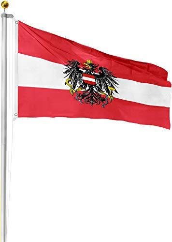 normani Aluminium Fahnenmast 6,20 6,80 oder 7,50 Meter Höhe inkl. Deutschlandfahne mit Adler oder Österreich 90x150 Farbe Österreich Größe 7.5 Meter