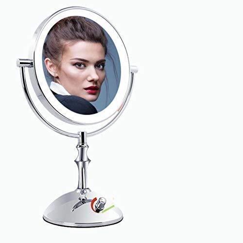 ROSG Espejo de Maquillaje Espejo de Maquillaje de Doble Cara Espejo de Escritorio con Aumento de 1X / 3X, Acabado en Cromo Pulido, Espejo de tocador Iluminado de 8 Pulgadas, Espejo de tocador con