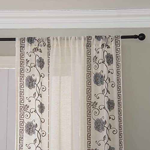 Embroidery Striped Linen Floral Sheer Curtains for Farmhouse - Country Vertical Striped Sheer Curtains for Living Room - Dark Purple Antique Design Curtains 84 Inch Long with Rod Pocket, Set 2 panels