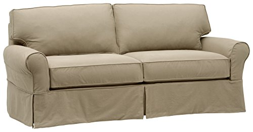 Stone & Beam Carrigan Modern Sofa Couch with Slipcover, 88.5'W, Khaki