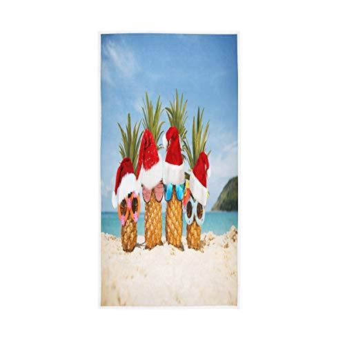 ALAZA Toallas de piña de Papá Noel de mar turquesa toalla de algodón toalla de baño decoración de baño 30 x 15 pulgadas
