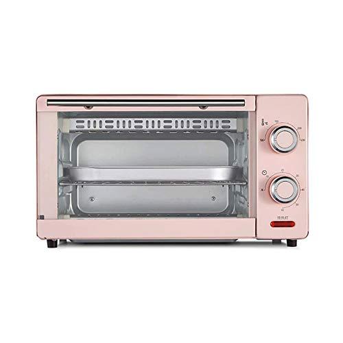 Sdesign Hogar Mini Horno Horno eléctrico 11L, con Placa Doble, 60 Minutos Temporizador, 230 ° C de área Amplia de Control de Temperatura, for Hornear Cocinar Asar la Carne Asada (Color : Pink)