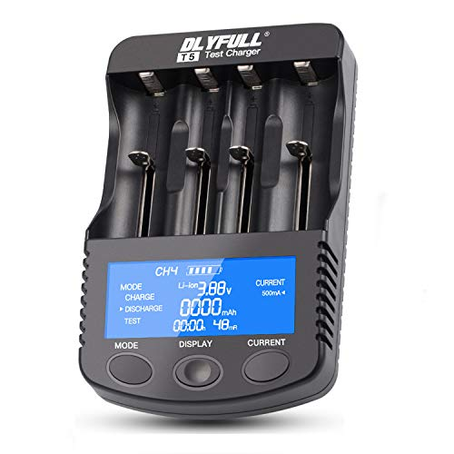 18650 Smart Battery Charger Universal Intelligent Charger LCD Display for 26650 18350 17670 18700 21700 20700 Li-ion IMR INR ICR Ni-MH Ni-Cd AAA AA C Batteries(4 Slot Discharge Function)