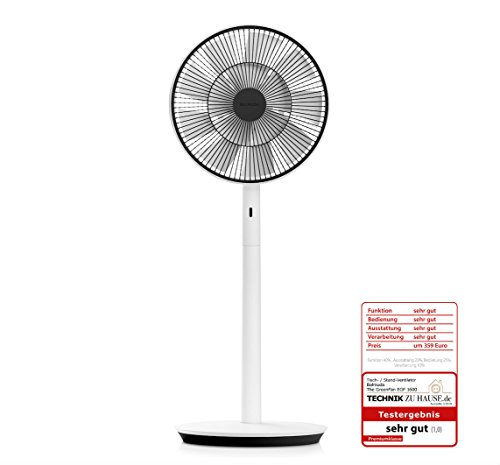 BALMUDA The GreenFan | Stand-/Tischventilator | DC Motor | Leise 13 dB | 1.5W Energie Sparen | 15m Reichweite | Luftzirkulator | Design | Made in Japan | Eco | EGF-1600-WK EU(Weiß x Schwarz)