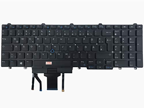 Keyboard with lighting, without frame, German keyboard layout compatible for Dell Latitude 15 (E5550-5908), 15 (E5550-9921), 15 (E5550-5762), 15 (E5550-6747), 15 (E5550-9938), 15 E5570 (CM051)