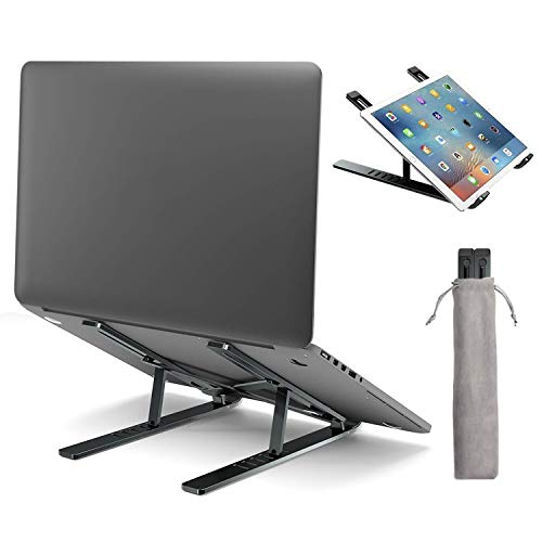 """Laptop Stand,Laptop Holder Riser Computer Stand for Desk,Adjustable Ergonomic Aluminum Foldable Portable Notebook Stand,Compatible with MacBook Air Pro,HP,Lenovo,Dell,More 10-15.6"""" Laptops and Tablets"""
