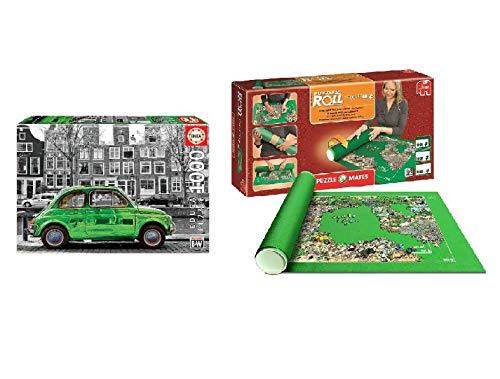 Promohobby Tapete para enrollar Puzzles (hasta 3000 Piezas) + Puzzle Educa 1000 Piezas Coche en Amsterdam (Ref. 18000)