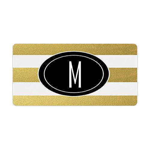 Perfecone Home Improvement - Funda de almohada con diseño de rayas doradas, color negro, monograma para sofá y coche, 1 paquete de 50 x 65 cm