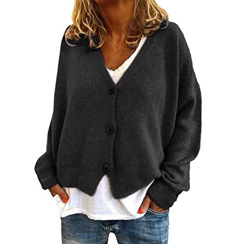 YJNH Chaqueta corta de punto para mujer, de manga larga, elegante chaqueta con cuello en V, botones, para exteriores, invierno E-black XL