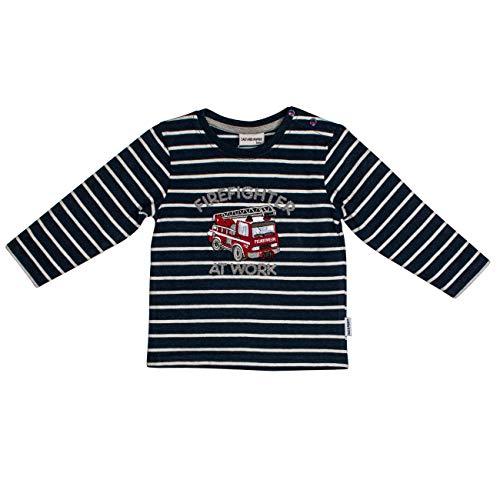 Salt & Pepper Baby-Jungen Ready for Action Feuerwehr Firefighter Applikation Sweatshirt, Blau (Dark Blue Melange 492), (Herstellergröße: 92)