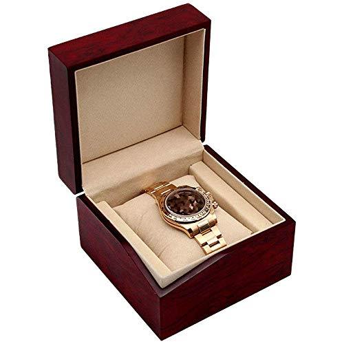 Caja de Reloj Individual Reloj Joyero Elegante Vino Tinto Boda Cumpleaños Día de San Valentín 12 & Times;12 y Veces;Los 8,6cm