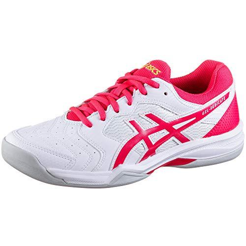 ASICS Damen Gel-Dedicate 6 Indoor Leichtathletik-Schuh, Weiss/Laser Rosa, 41.5 EU