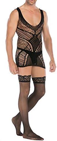 Yomie Bodysuit voor heren Sexy lingerie Set Visnet Jumpsuit Meerdere stijlen Elasticiteit Bodystocking Zwarte blinddoek en kousen voor mannen