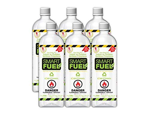SMART FUEL 6 Liter Pack- Indoor/Outdoor Fireplace Fuel- Ultra Pure Safety Pour Technology- Toxic Free, Planet Friendly, Ethanol for Indoor and Outdoor Burning