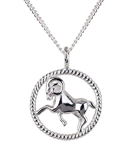SIX Damen Halskette, Gliederkette, Sterling Silber, 925er Silber, Gliederkette, Horoskop, Sternzeichen, Widder, silber (386-272)