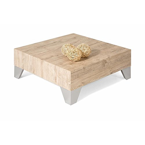 Mobili Fiver, Table Basse, Evolution 60, Chêne Naturel, 60 x 60 x 24 cm, Made in Italy