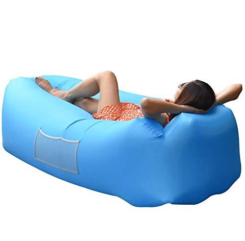AngLink Luftsofa Wasserdichtes Aufblasbares Sofa Air Lounger mit 2 Lufteinlass Laybag Outdoor Sofa mit Tragebeutel für Camping Stuhl, Park, Strand, Hinterhof, (2. Generation) Kissenentwurf