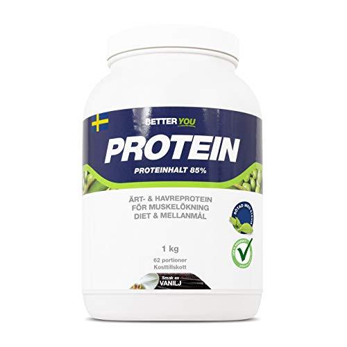 BETTER YOU Vegan Protein Powders Shake Snack Pea & Oat Blend Plant-Based Lactose Free 1kg 62 Servings - Vanilla