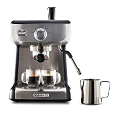 15-Bar Italian pump delivers the right amount of pressure for maximum flavor extraction and produces a beautiful layer of crema for your Espresso Dial interface for selecting steam, hot water, and pre-programmed single and double shots 58mm café-size...