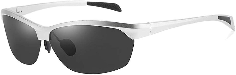 Fashion Mens Frameless Full Aluminum Magnesium Sports Driving Glasses Polarized Sunglasses Retro (color   Silver, Size   Free)