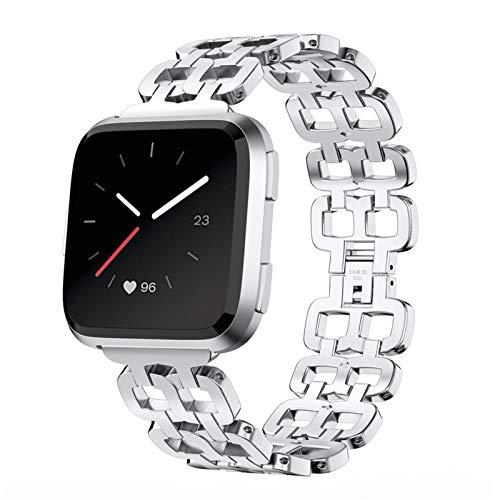 HGNZMD Watch Correa Reloj Compatibles con Fitbit Versa 2 /Versa/Versa Lite, Correas De Repuesto Banda De Acero Inoxidable Strap De Metal Bandas Deportivas Pulseras Compatibles con Versa,Plata