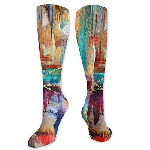 Calcetines altos hasta la rodilla Hermoso colorido Medias sexis de compresión hasta la rodilla para mujer Calcetines deportivos Calcetines de regalo personalizados para hombres, mujeres, adolescentes,