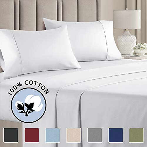100% Cotton Full Sheets White (4pc) Silky Smooth, Cooling 400 Thread Count Long Staple Combed Cotton Full Sheet Set – Pure 400TC High Thread Count Full Sheets - Full Bed Sheets Cotton - All Cotton