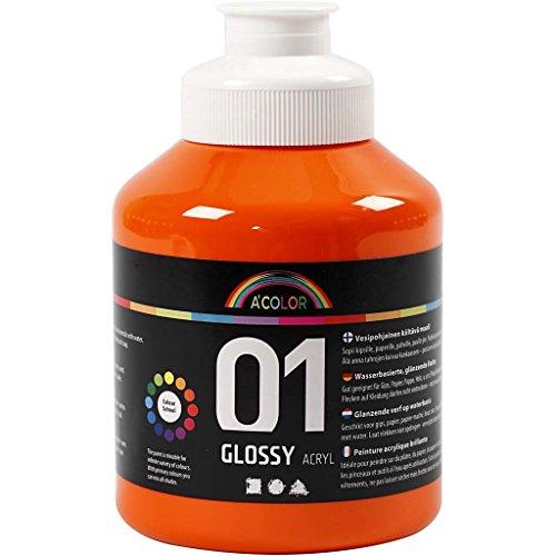 A-Color Pintura acrílica naranja, 01 brillante, 500 ml