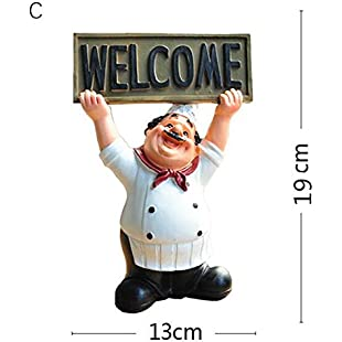 13x19cm Restaurant Chef Statue Home Kitchen Ornament Figurine Table Decor Welcome Board 3:Bemdesaude